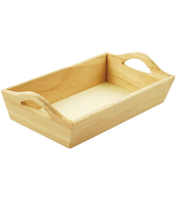 Paintable Wooden Tray W/Handles