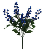 Blooming Holiday Christmas 18'' Glitter Berry Spray-Blue, , hi-res