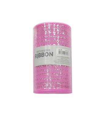 "Decorative Ribbon 5.5""x10yd Metallic Deco Mesh-Light Pink"