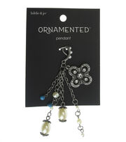 hildie & jo™ Ornamented Antique Silver Chain Pendant with Flower, , hi-res