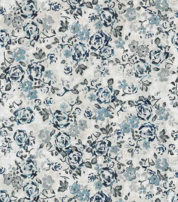 "Vintage Cotton Fabric 43""-Sketch Florals Blue"