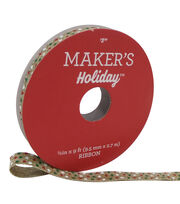 Maker's Holiday Ribbon 3/8''x9'-White, Green & Red Dots on Natural, , hi-res