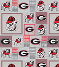 University of Georgia Bulldogs Fleece Fabric 60\u0022-Gray Block