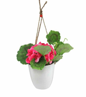 Fresh Picked Spring Small Geranium in Hanging Pot-Pink