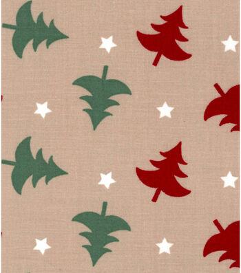 Holiday Showcase™ Christmas Cotton Fabric 43''-Christmas Trees & Starts on Beige
