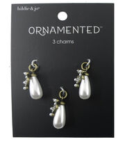 hildie & jo™ Ornamented 3 Pack Antique Gold Charms-Teardrop Pearl, , hi-res