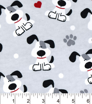 "Snuggle Flannel Fabric 42""-Pups And Hearts"