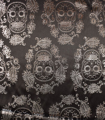 """The Witching Hour Halloween Fabric 58""""-Sugar Skull Foil"""