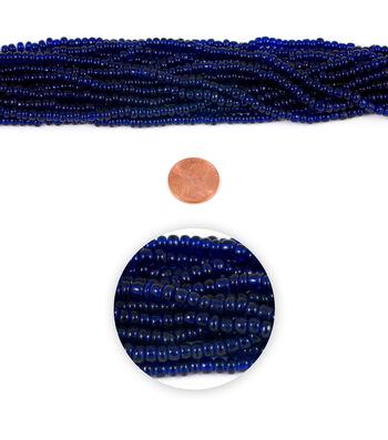 Blue Moon Strung Glass Seed Bead Hank,Cobalt Blue