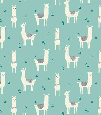 "Snuggle Flannel Fabric 43""-Tossed Llama Teal"