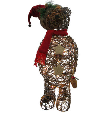 Maker's Holiday Christmas Rattan Bear with Hat & Scarf-Brown & Red