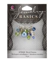 Jewelry Basics Metal Charms-Aqua Glass/Metal Bead Cluster 11/Pkg, , hi-res