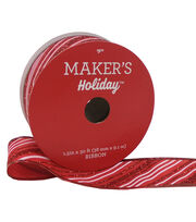 Maker's Holiday Christmas Ribbon 1.5''x30'-Glitter Red & White Stripe, , hi-res