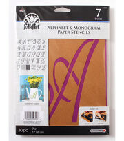 FolkArt® Alphabet & Monogram Paper Stencils-Script Font, 7 inch, , hi-res