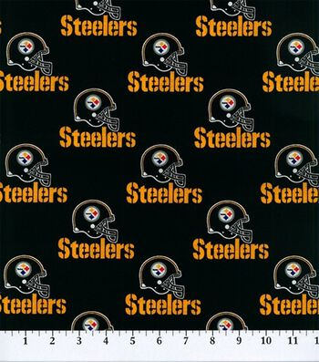 """Pittsburgh Steelers Cotton Fabric 58""""-Black"""
