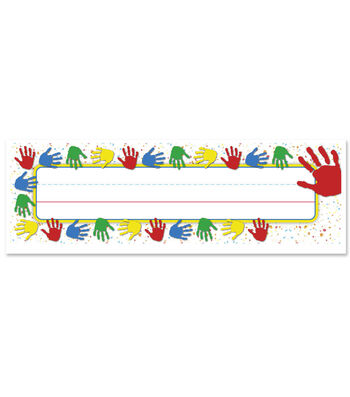Busy Kids Learning Nameplate-Kid's Handprints