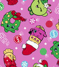 Shopkins Christmas Fleece Print Fabric 57\u0027\u0027-Ho Ho Ho Holiday