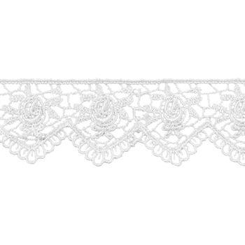 1 1/4 In White Scalloped Rose Venice