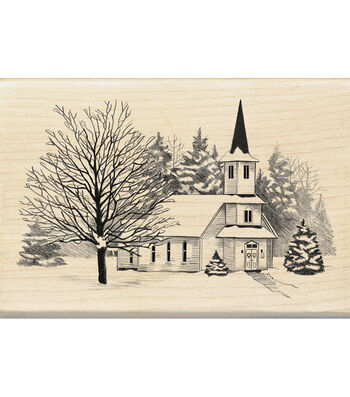 Inkadinkado Mounted Rubber Stamp-Church In Snow