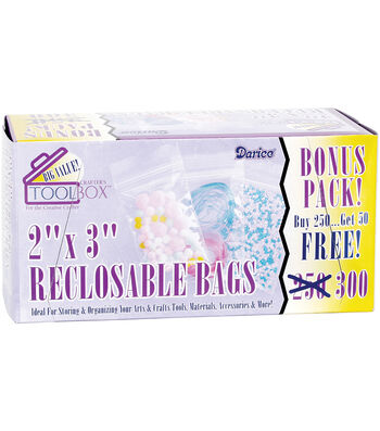 "Reclosable Plastic Bags 2""X3"" 300/Pkg"