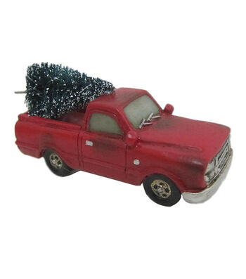 Maker's Holiday Christmas Littles Resin Red Truck with Tree