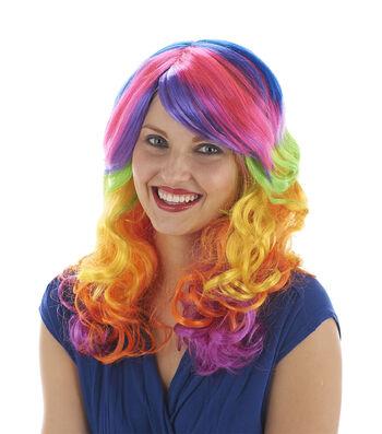 Maker's Halloween Swirl Wig-Rainbow