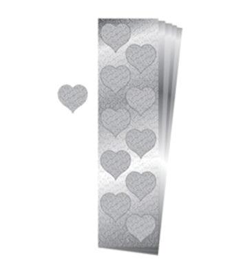 50pk Glitter Heart Seals-Silver