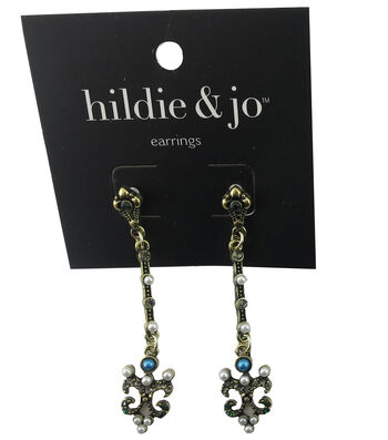 hildie & jo™ Antique Gold Earrings-Pearls & Crystals