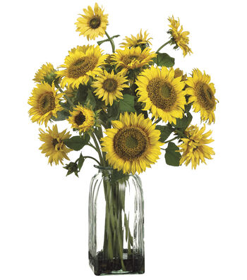 Bloom Room Luxe 30'' Sunflower In Glass-Yellow