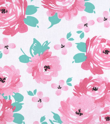 "Nursery Cotton Fabric 43""-So Loved Large Floral"