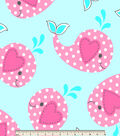 Blizzard Fleece Fabric 59\u0022-Polka Dot Whale