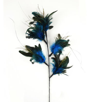 """Bloom Room 32"""" Feather Floral Spray x 5-Blue"""
