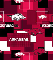 University of Arkansas Razorbacks Cotton Fabric 43''-Modern Block, , hi-res