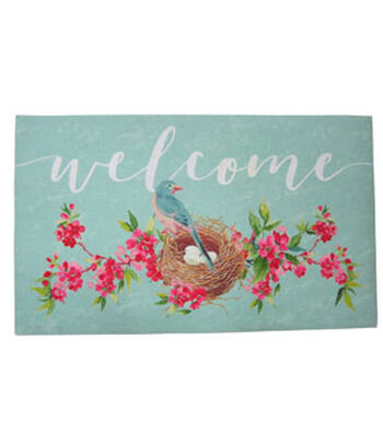 Hello Spring Gardening Rubber Door Mat-Welcome & Hummingbird