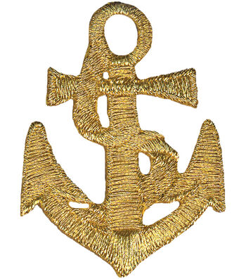 """Wrights® Iron-On Appliques-Gold Anchor 1-5/8""""X2"""" 1/Pkg"""