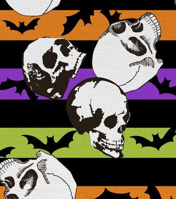 Halloween Cotton Fabric 44''-Skulls, Stripes & Bats