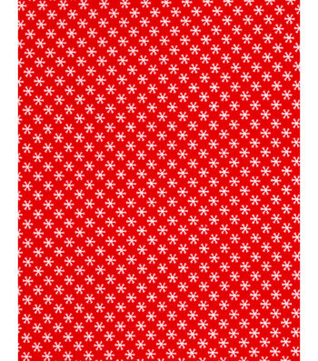 Holiday Showcase™ Christmas Cotton Fabric 43''-Ditsy Snowflakes on Red