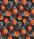 Novelty Cotton Fabric 44\u0027\u0027-Basketball on Black