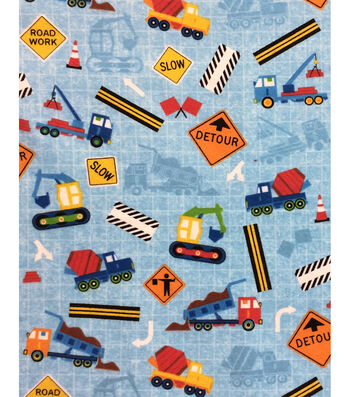 "Snuggle Flannel Fabric 43""-Construction Trucks Blue"