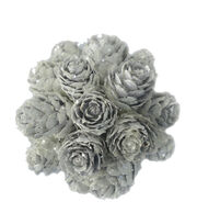 Blooming Holiday Christmas 3'' Pinecone Ball-White, , hi-res