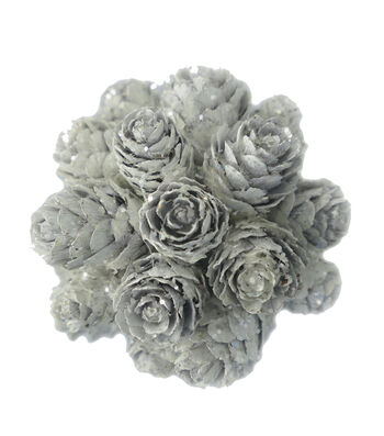 Blooming Holiday Pinecone Ball-All White