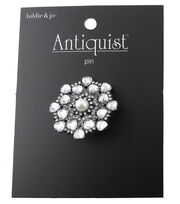 hildie & jo™ Antiquist Circle Silver Pin-Pearl & Clear Crystals, , hi-res