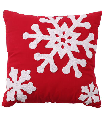 Maker's Holiday Christmas 18''x18'' Pillow-White Snowflake on Red