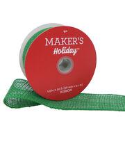 Maker's Holiday Christmas Sparkle Burlap Ribbon 1.5''x30'-Green, , hi-res