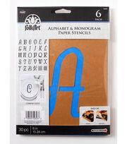 FolkArt® Alphabet & Monogram Paper Stencils - Italic, 6 inch, , hi-res