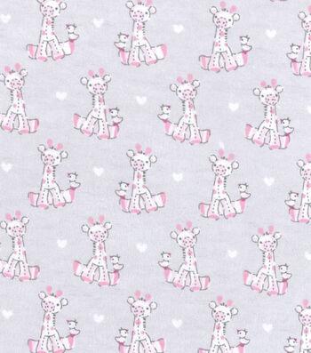 "Nursery Flannel Fabric 42""-Sweet Pink Giraffe"
