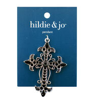 Blue Moon Beads Metal Pendant 72x52mm, Cross, Antique Silver, Black, , hi-res