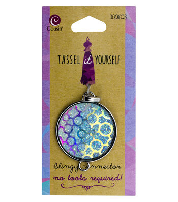 Cousin® Tassel It Yourself Round Glitter Connector-Blue Leopard