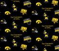 University of Iowa Hawkeyes Cotton Fabric 44\u0022-Black