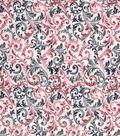 Vintage Cotton Fabric 43\u0027\u0027-Blue & Red Scrolling Vines
